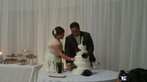 The bride and groom were very nice about feeding each other cake.